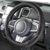 日本 BONFORM 汽車用黑色紅線真皮牛皮方向盤軚環套