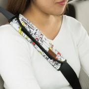日本 BONFORM 汽車用 SNOOPY 史露比漫畫風格安全帶套