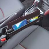 日本 BONFORM 汽車用碳纖紋椅邊雜物袋收納袋A4袋