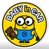 日本 BONFORM 汽車用MINION 黃色BABY IN CAR圓貼