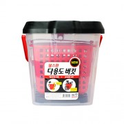 韓國製 洗車用多功能水桶15升腳踏板雜物箱透明紅黑色隔砂盤