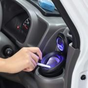 日本 CARMATE 汽車用車內太陽能LED碳纖紋黑色煙灰缸杯型
