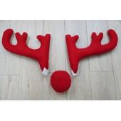 汽車用 聖誕節 鹿角裝飾 紅色大角