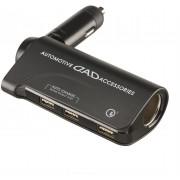 日本 DAD 12V 汽車用一拖三USB充電器分插點煙器QC3.0手機充電器