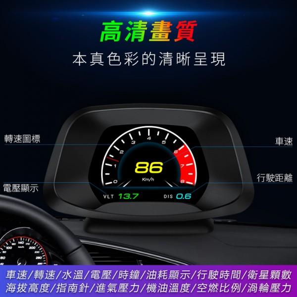 HUD P19 OBD2 GPS 汽車用抬頭顯示器車速轉數水溫電壓