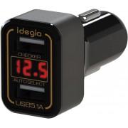 日本 IDEGIA 汽車用12V手機充電一拖二USB點煙器電壓顯示貨車用24V
