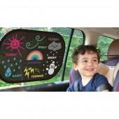 日本 汽車用小童卡通動物教學車窗遮光罩防灑罩太陽擋防灑