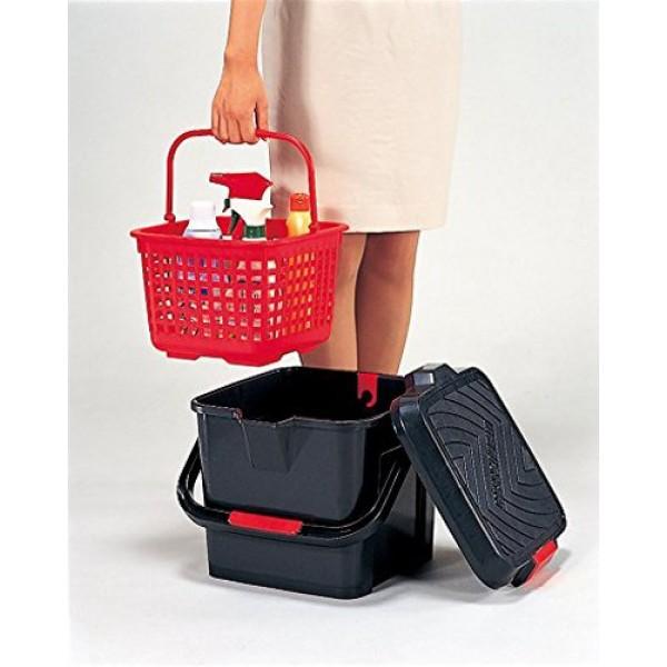 日本製 洗車用多功能水桶17升腳踏板雜物箱紅黑色
