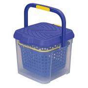 日本製 洗車用多功能水桶17升腳踏板雜物箱透明藍色
