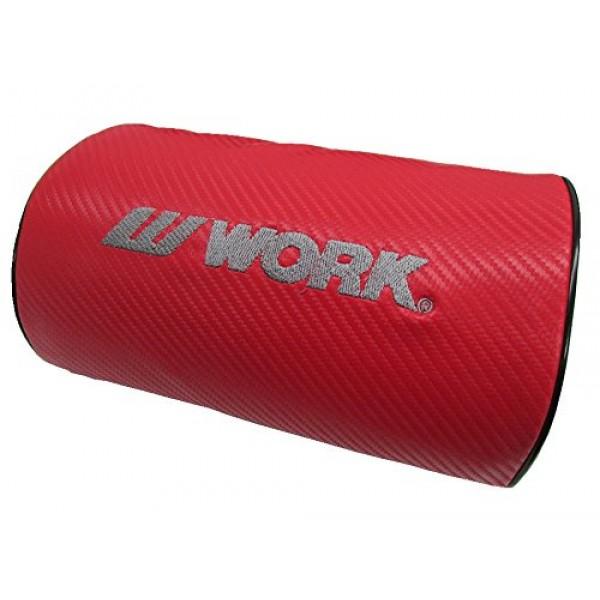 日本 WORK 汽車用碳纖紋皮質頸枕 (2色可選)