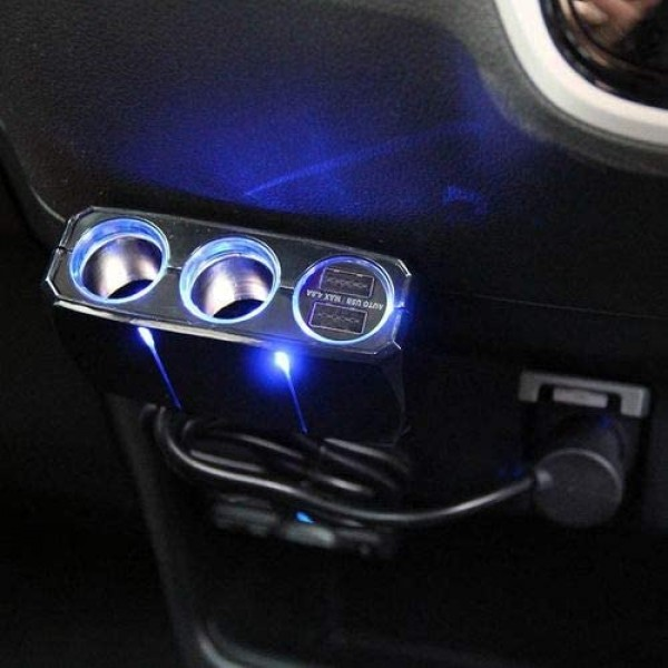 日本 KASHIMURA 汽車用一拖一點煙器一拖二USB充電器分插帶線