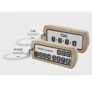 韓國製 汽車用木紋雷射雙面車牌號碼 / 電話號碼車匙扣
