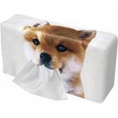 日本 MEIHO 汽車用啡白狗狗柴犬紙巾盒紙巾袋紙巾套