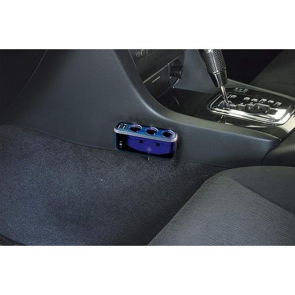 日本 NAPOLEX 汽車用一拖三USB4.8A