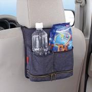 日本 NAPOLEX 汽車用牛仔布椅背多功能後座雜物袋收納袋