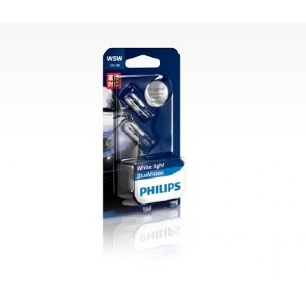 PHILIPS 12V 汽車用 白光 房燈 細燈 燈炮 T10 4000K ( 一對裝 )