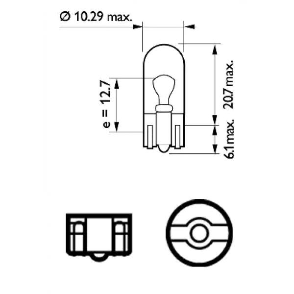 PHILIPS 12V 5W W2 1x9 5d 汽車用 原裝 房燈 細燈 燈炮 T10 W5W  ( 一粒 )