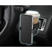 日本 SEIKO 汽車用車內黑色碳纖紋出風口用杯架+手機架