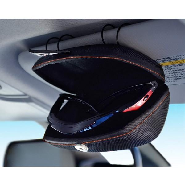 日本 SEIKO 汽車用車內太陽擋板黑色太陽眼鏡收納盒