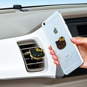 日本 SEIWA HELLO KITTY  汽車用冷氣出風口黑金磁石電話座手機架