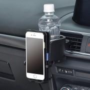 日本 SEIWA 銀黑風口杯架+手機架