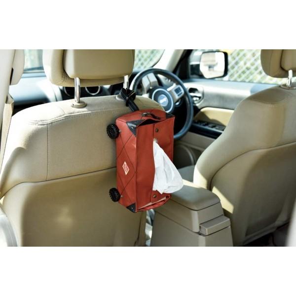 日本 汽車用 車中泊收納袋手拉車造型露營郊外運輸車推貨車紙巾袋雜物袋車仔 ( 紅色 )