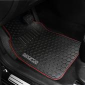 意大利 SPARCO 汽車用車內防水地膠地毯黑色紅線司機位乘客位 ( 5座用 )