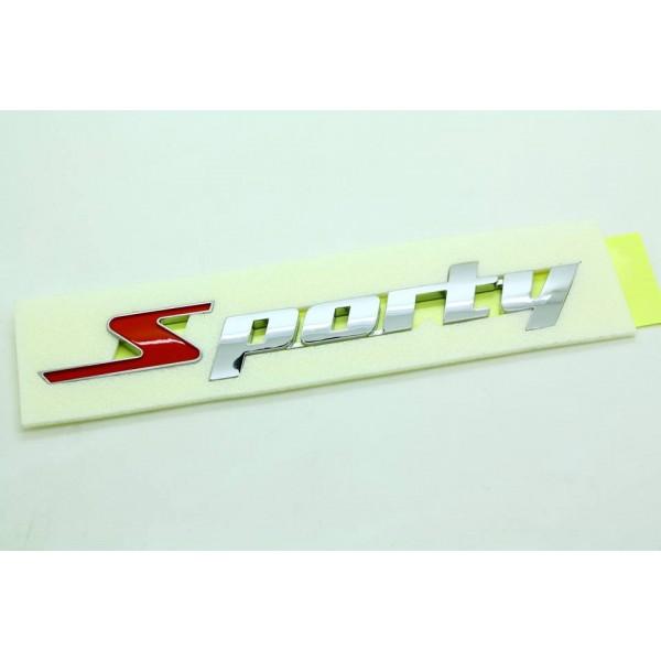 汽車原廠車章 SPORTY 運動型賽車跑車 電鍍銀章+紅字 --- 韓國製
