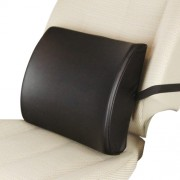 日本 TOMBOY 汽車用黑色皮質記憶棉腰枕