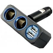 日本 YAC 12V汽車用直插一拖二分插點煙器USB手機充電4.8A