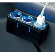 日本 YAC 12V汽車用一拖二分插點煙器USB手機充電4.8A