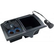 日本 YAC 本田 HONDA JAZZ FIT 專用一拖二點煙器分插LED手機充電收納箱 GK3 GK4 GK5 GK6 GP5 GP6