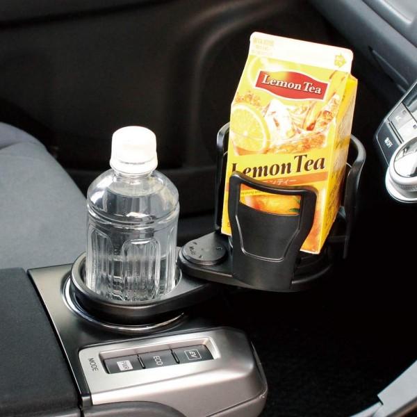 日本 YAC 汽車用一拖二杯架手機架杯麵架一開二飲品架