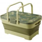日本製 ISETO 洗車用迷彩可摺疊車尾箱收納箱雜物箱水桶水箱餐枱露營野餐 ( 15L )