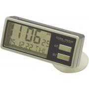 日本 YAC 汽車用太陽能銀邊透明時鐘日期日曆時間星期